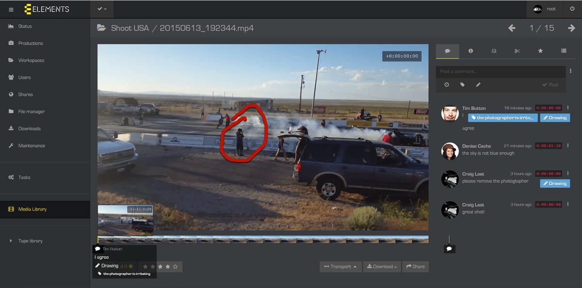 MAM footage notation interface